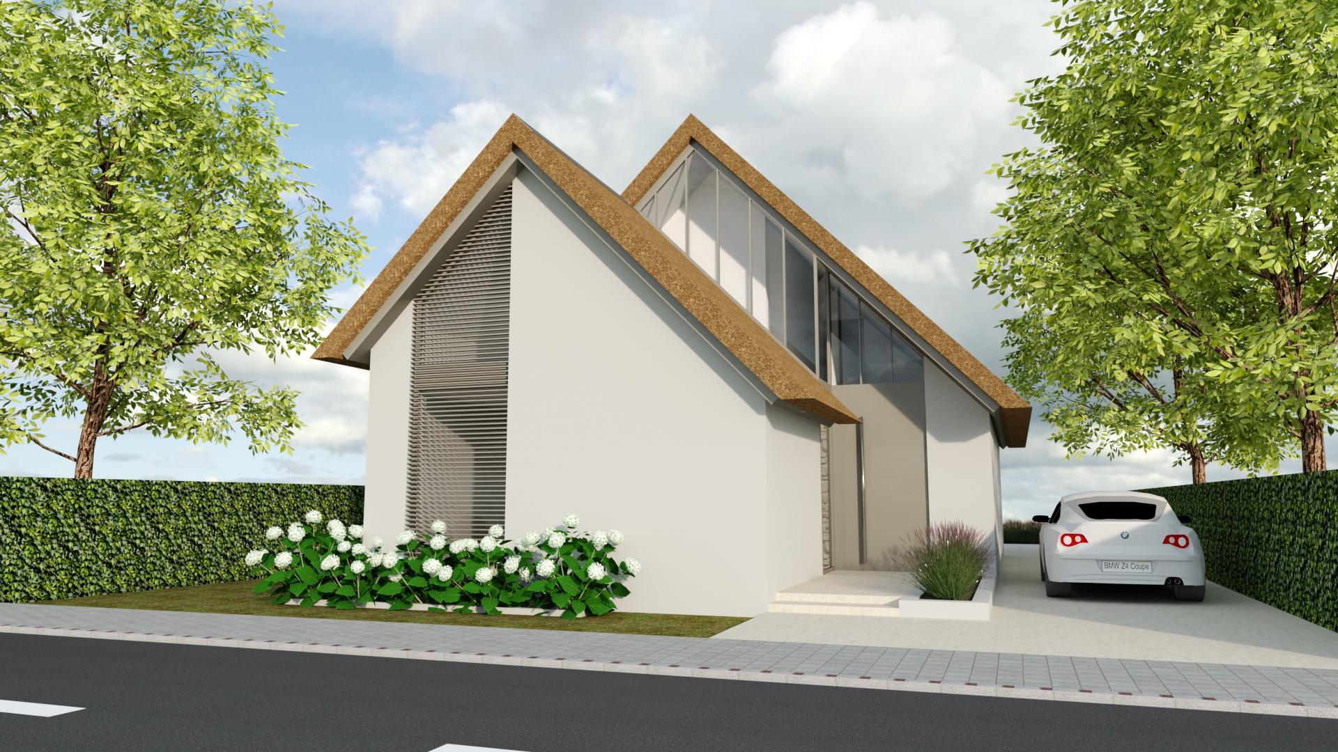Ontwerp voor een moderne woning met gestucte gevels en rieten kap van Annemarieke van Dooren Architect te Vessem