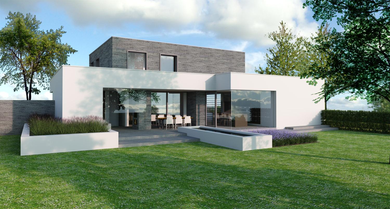 Modern en tijdloos ontwerp voor een nieuwbouw woning / villa met gevelstucwerk, gevelstenen en veel natuurlijke lichtinval, door Annemarieke van Dooren Architect te Vessem