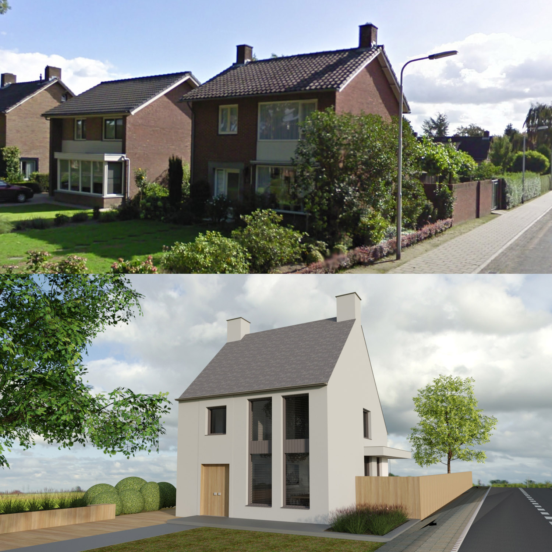 Modern ontwerp voor een verbouwing en restyling van een woning te Udenhout met gevelstucwerk, natuurleien en geslempte gevels, door Annemarieke van Dooren Architect te Vessem