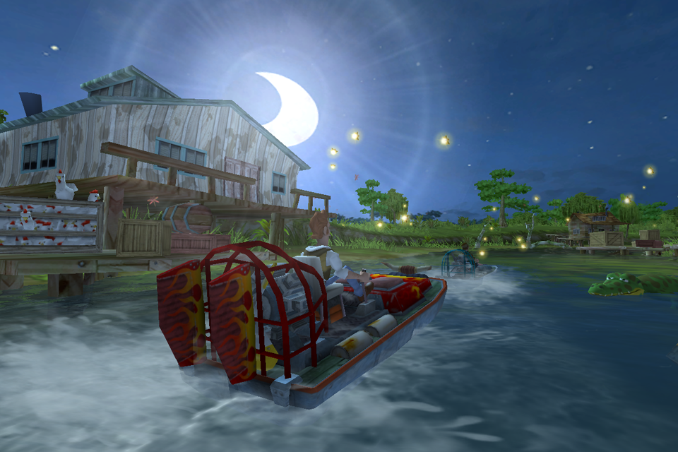 Explore beautiful bayou environments at different times of day and night!