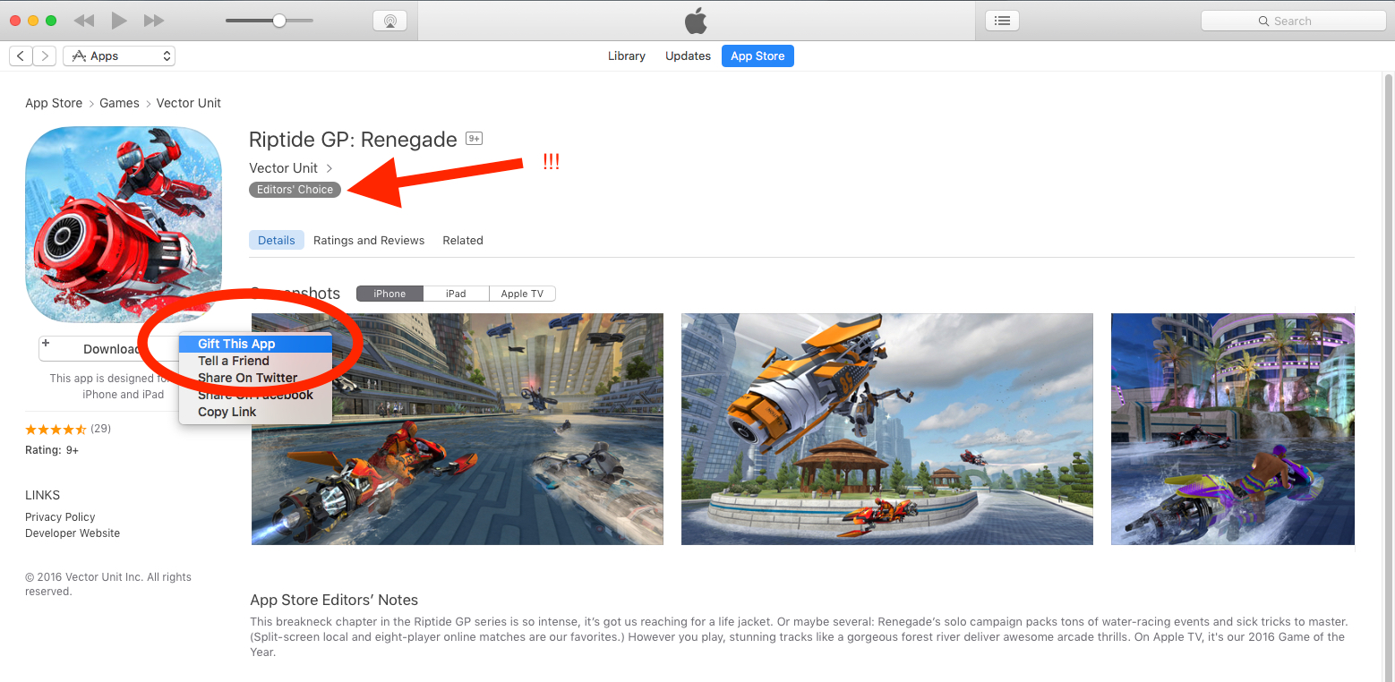 """Using the App Store, click on the down arrow where the price is listed. Select """"Gift This App"""" and take it from there! On a mobile device, click on the square with an arrow in it (top right hand corner), then select """"Gift""""."""