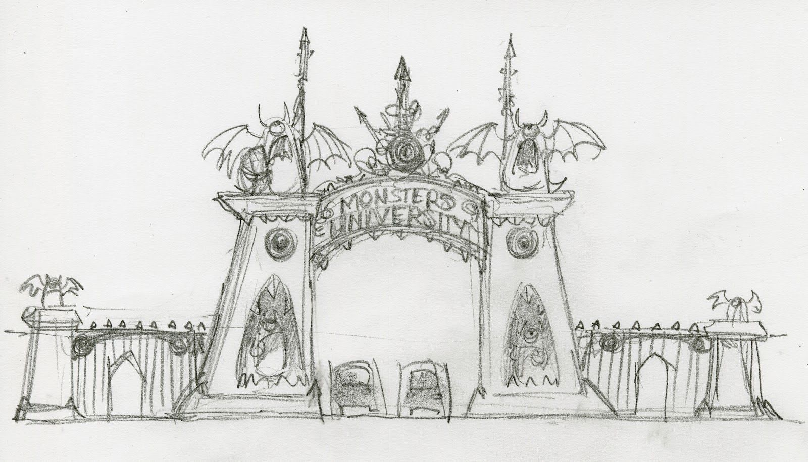 Monsters University concept art by John Nevarez highlighting the faux teeth and eyes blended into the shape language of the architecture