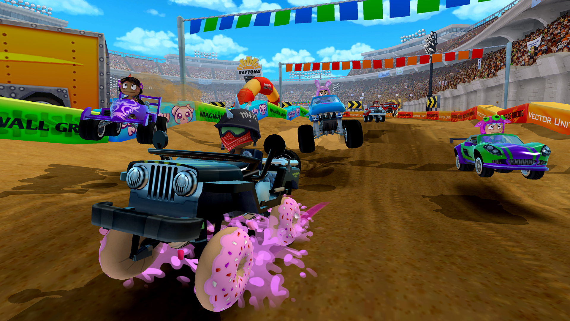 """Raytona Stadium is one of the new tracks in Beach Buggy Racing 2. Here you can also see the squishy goodness of """"Donut Tires"""", one of the new powerups."""