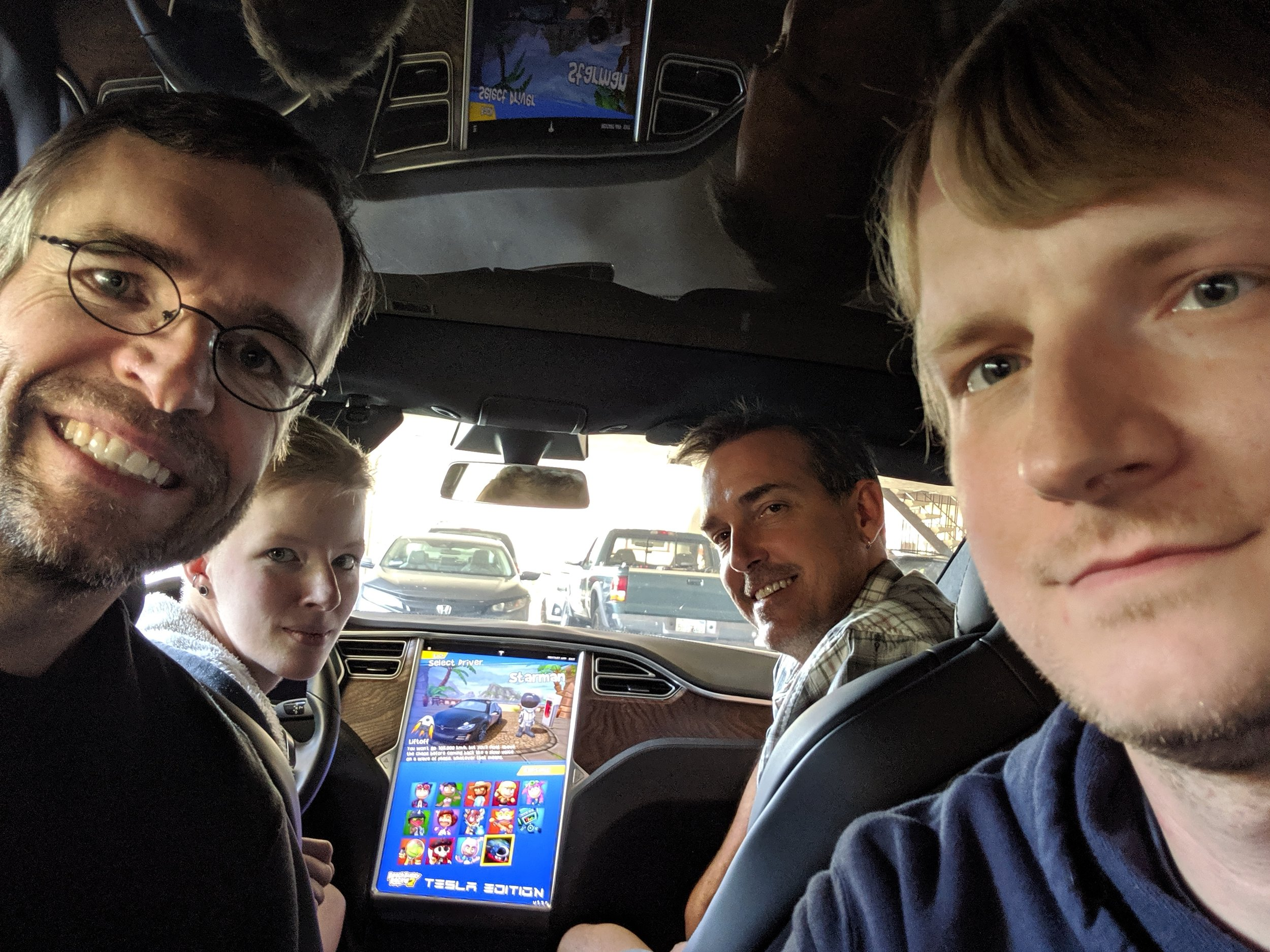 The full-time team in the Tesla just before launch. From left to right: Ralf, Timm, Matt, Ian.