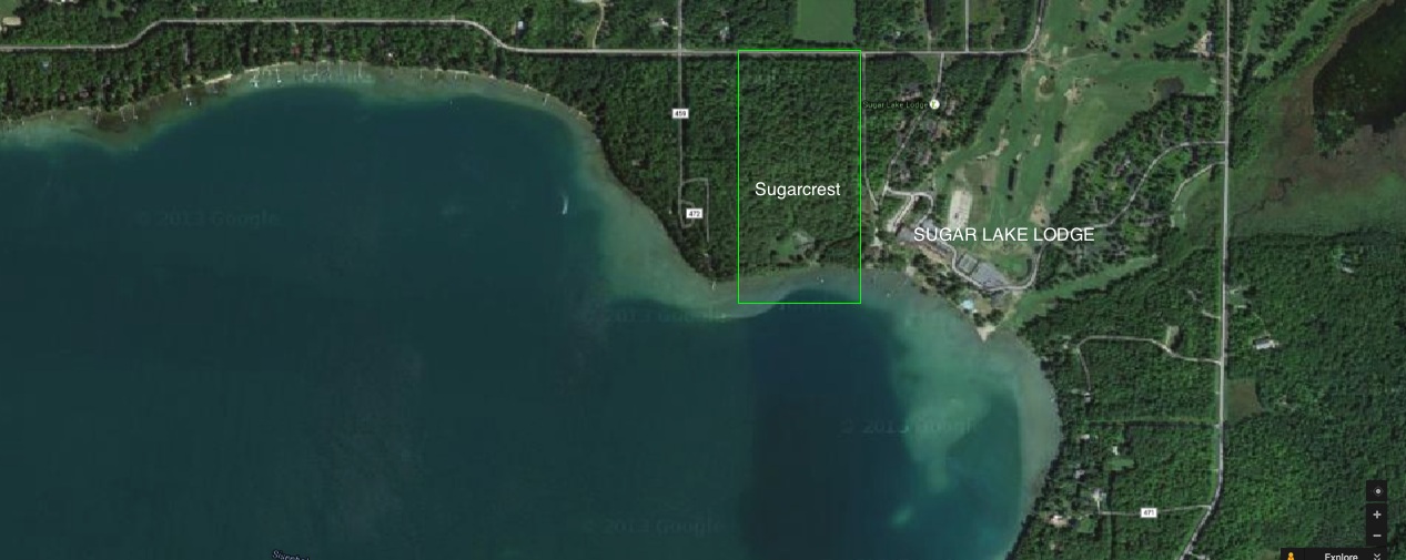 Sugarcrest's grand scale can be seen when viewed next to  Sugar Lake Lodge  and its 18 hole golf course.