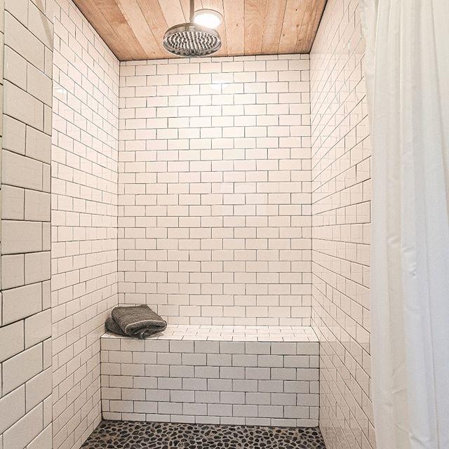 Main house master shower at Sugarcrest.  #sugarcrest, #subwaytile, #vacationrental, #reclaimedwoodceiling, #minnesotavacation, #lakehouserental