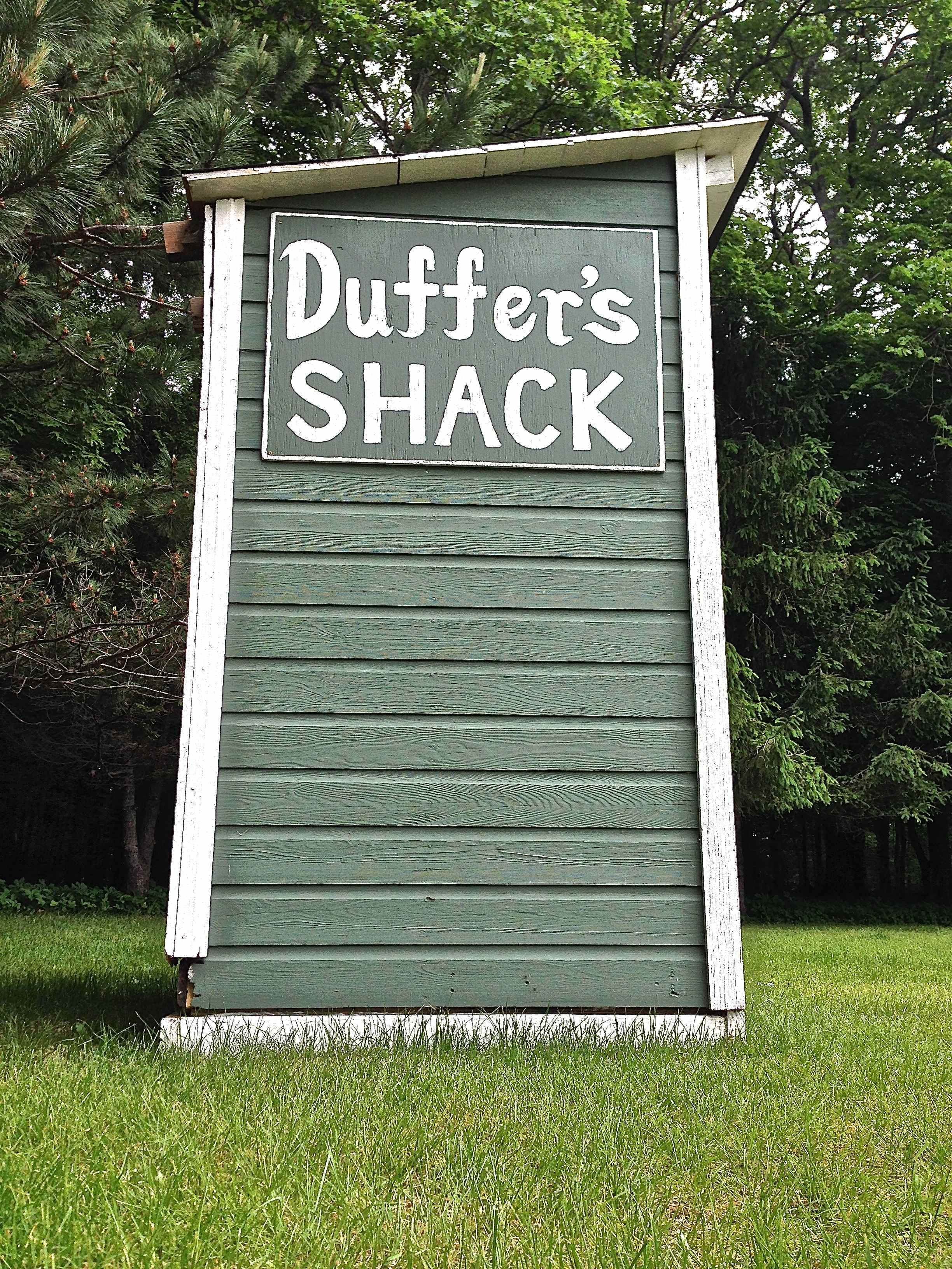 The iconic Duffer's Shack (refurbished outhouse), is your pro shop and starter shack all-in-one. This is where you grab your club and ball and prepare for fun. Picture is taken from first tee box.