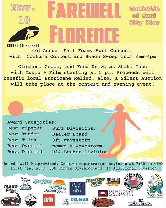 Tomorrow will be an epic way to give back to this wonderful community of ours. Come hang, come surf, come cheer, come high five! See ya on the beach 🤙🏽🤙🏽🤙🏽 #surf #shred #laugh
