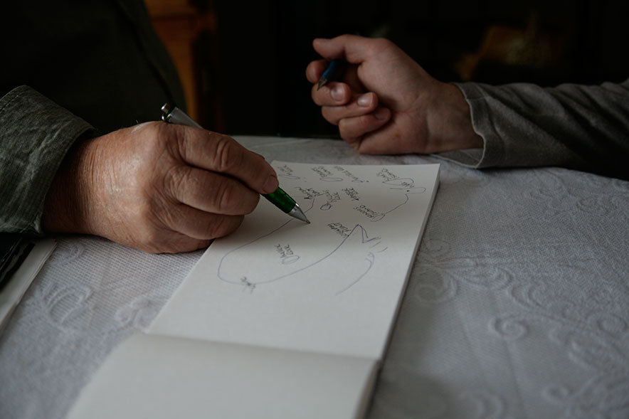 One of the fishermen drawing out the map of the sea floor with names of the invisible landscape