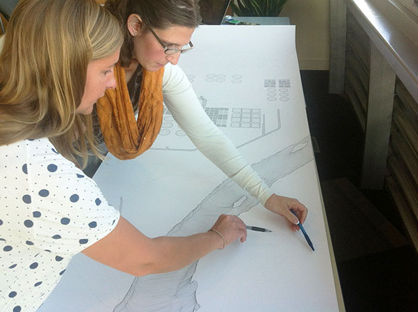 Twyla Hutchinson, Planning Engineer, working with Artist Rachel Duckhouse