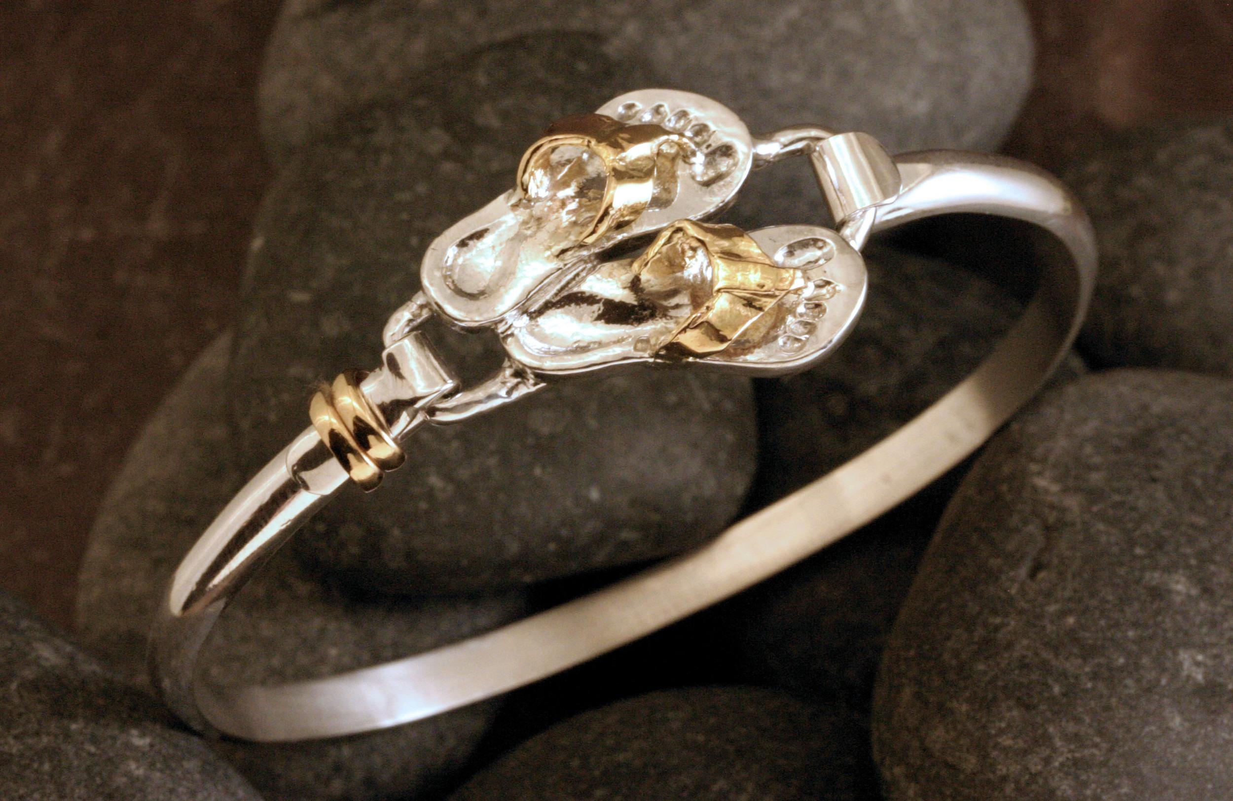 Sterling silver & 14K gold flip flop bracelet.