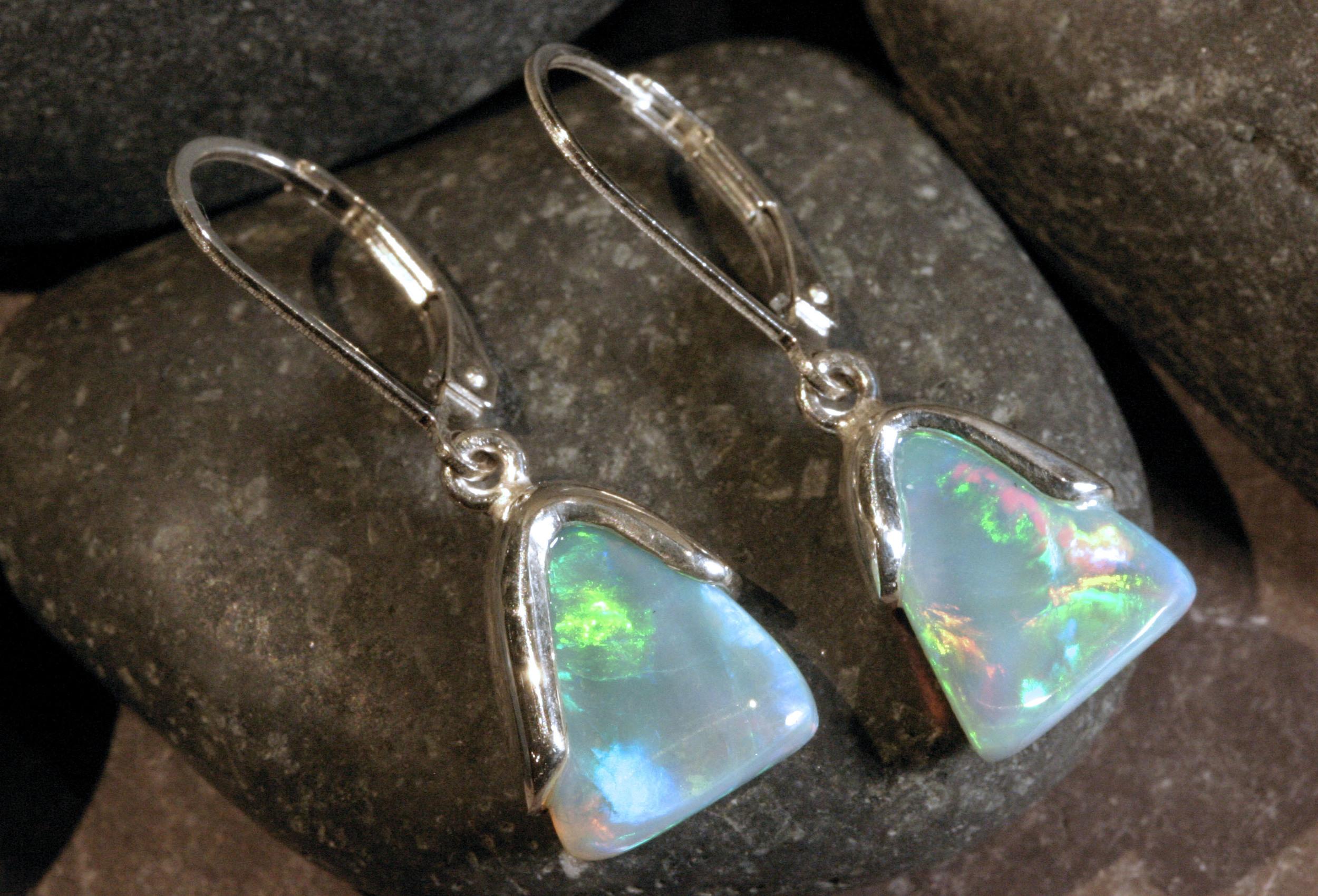 Sterling silver Ethiopian opal earrings