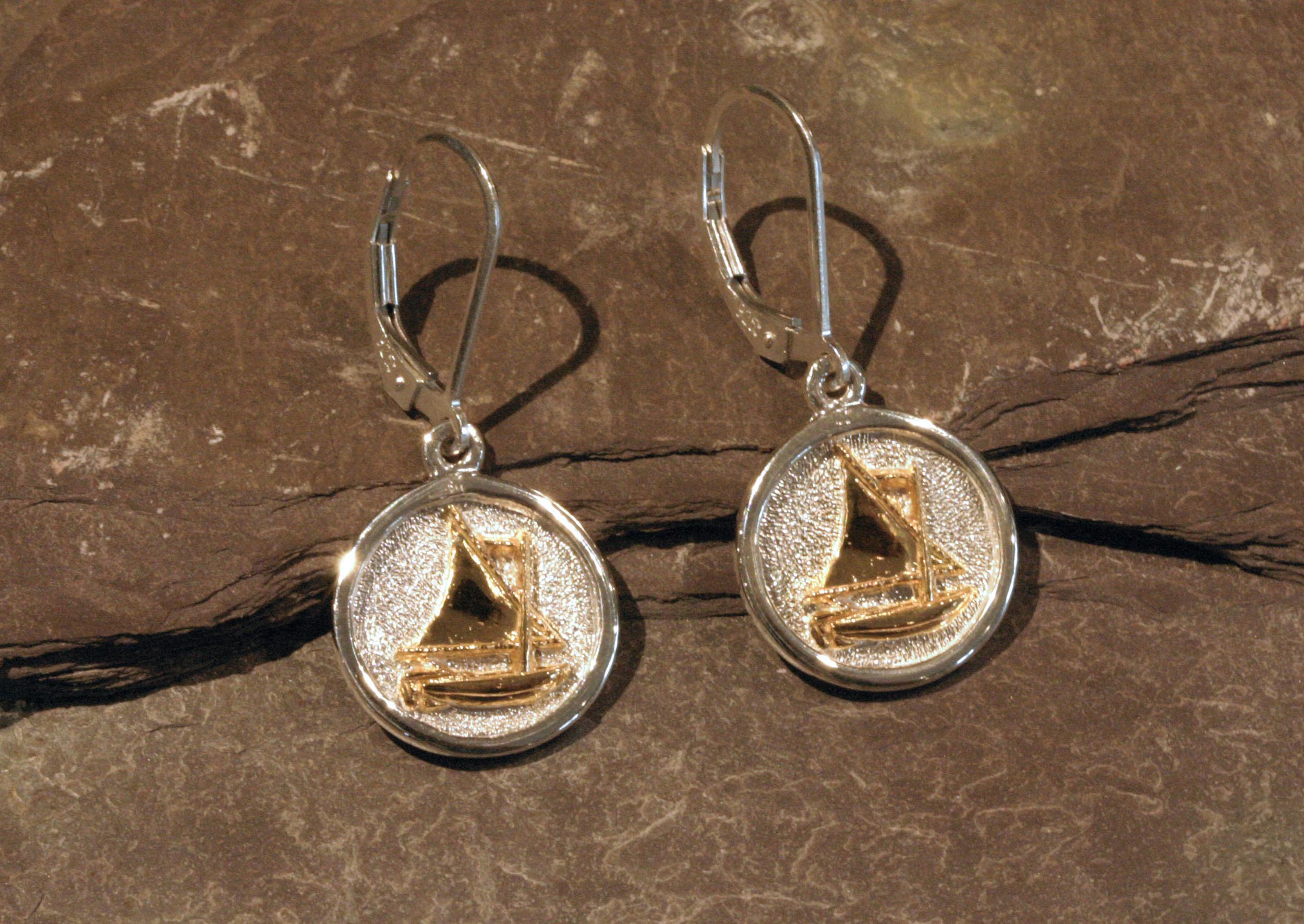 Sterling silver & 14K gold sailboat earrings