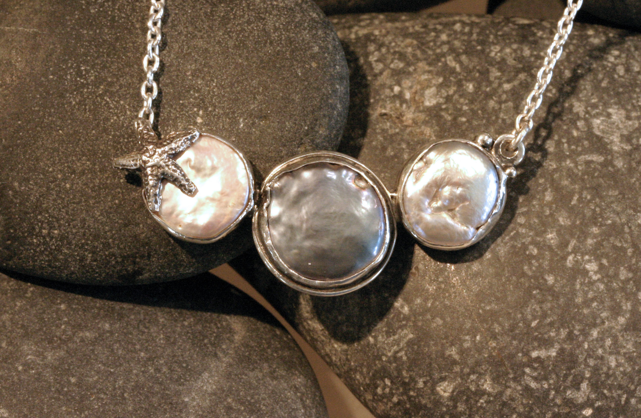Sterling silver three freshwater coin pearl necklace with starfish accent