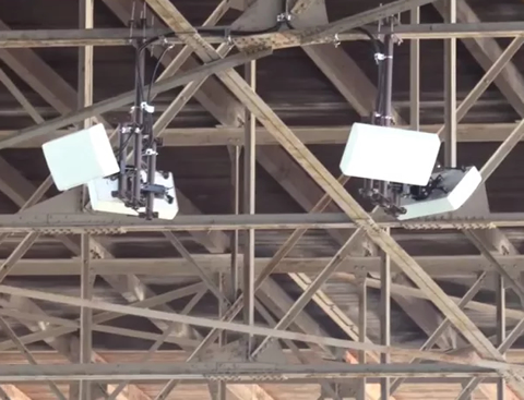 Distributed Antenna System perched above MN State Fair Grandstand seats.