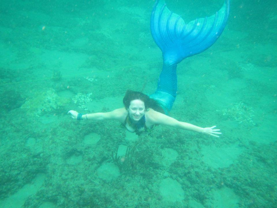 Wavy mermaid in her mernation tail