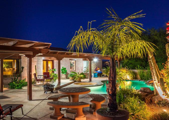 nighttime backyard home pool image