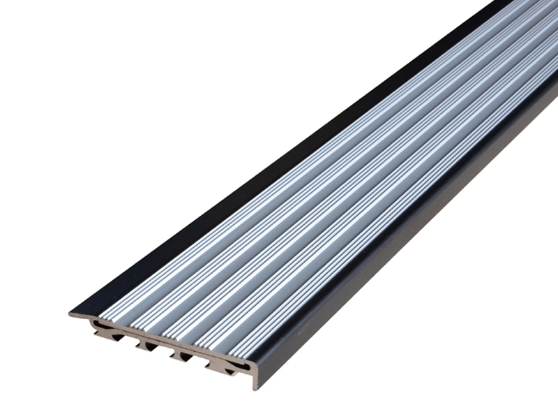 Recessed Direct Stick Black Anodised Profile with Striped Clear Anodised Insert