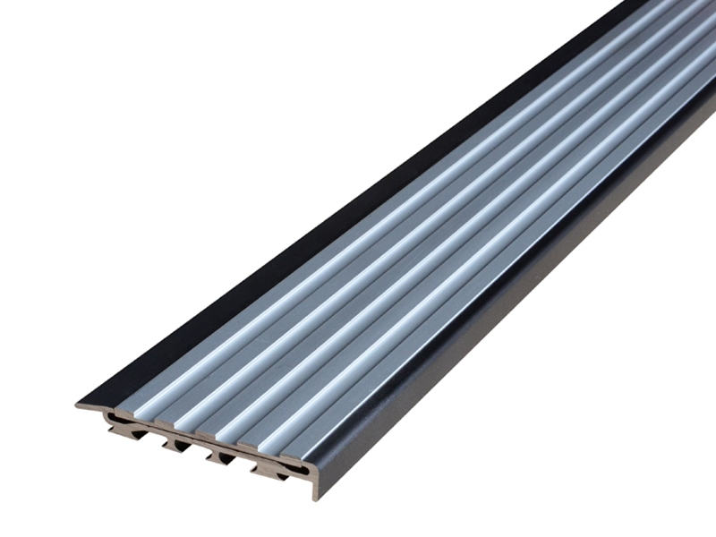 Recessed Direct Stick Black Anodised Profile with Squared Clear Anodised Insert