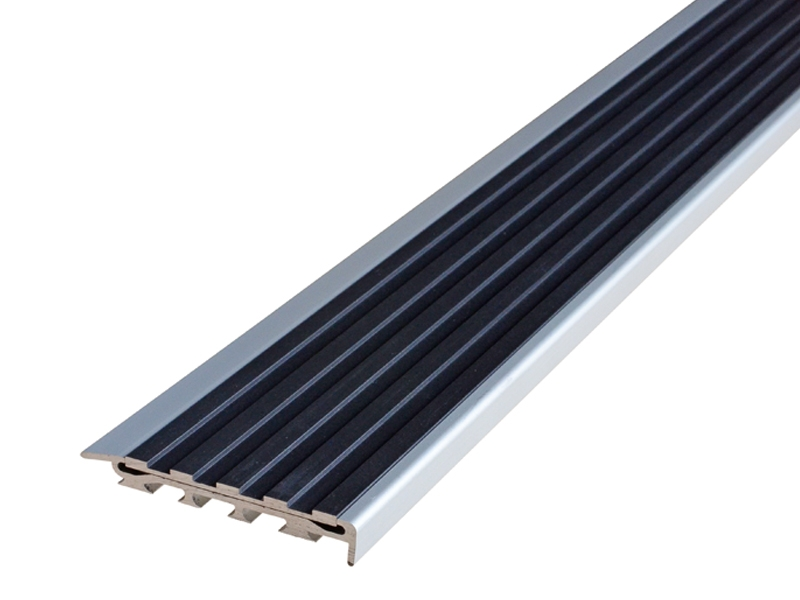 Recessed Direct Stick Clear Anodised Profile with Squared Black Anodised Insert