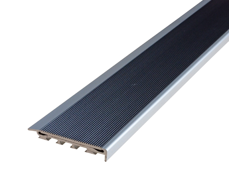 Recessed Direct Stick Clear Anodised Profile w Corrugated Black Anodised Insert