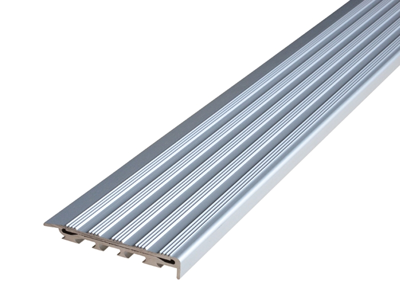 Recessed Direct Stick Clear Anodised Profile with Striped Clear Anodised Insert