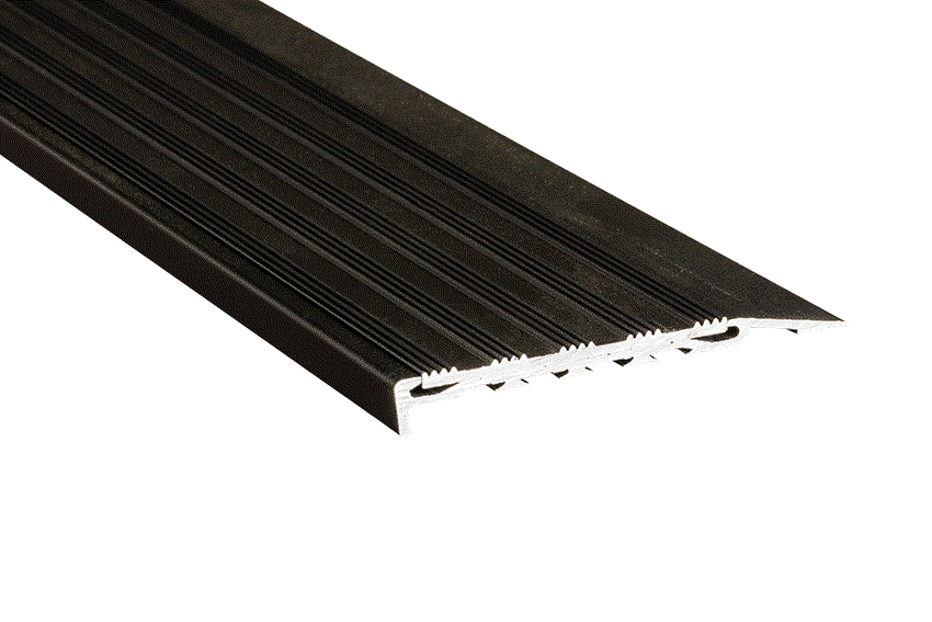 Black Striped Aluminium Insert with Black Anodised Nosing (SKU: 221125)