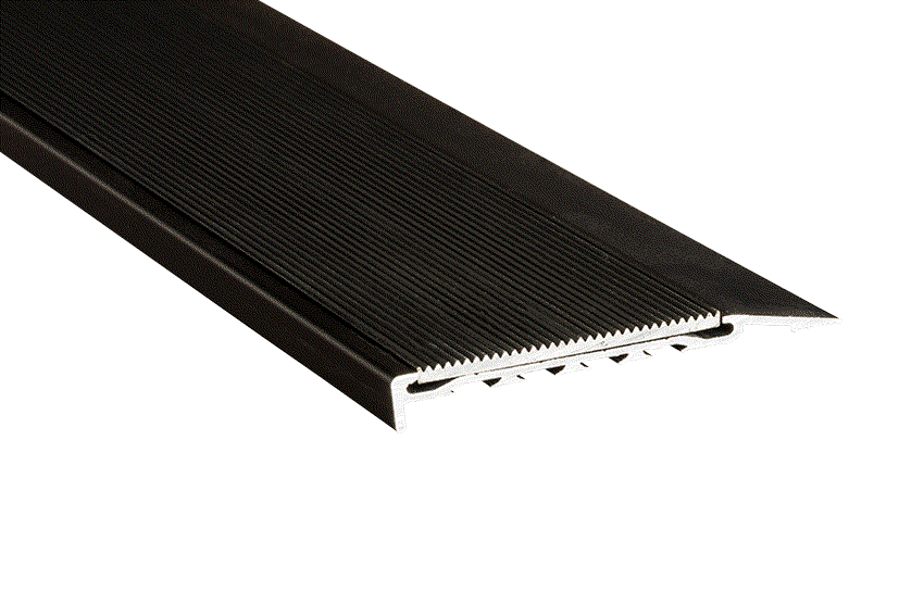 Black Corrugated Aluminium Insert with Black Anodised Nosing (SKU: 221124)