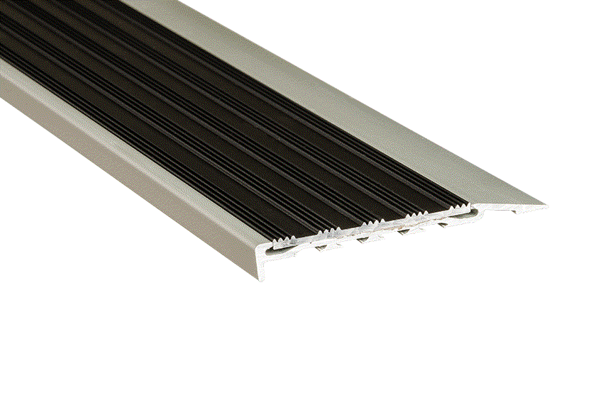 Black Striped Aluminium Insert with Silver Anodised Nosing (SKU: 221115)
