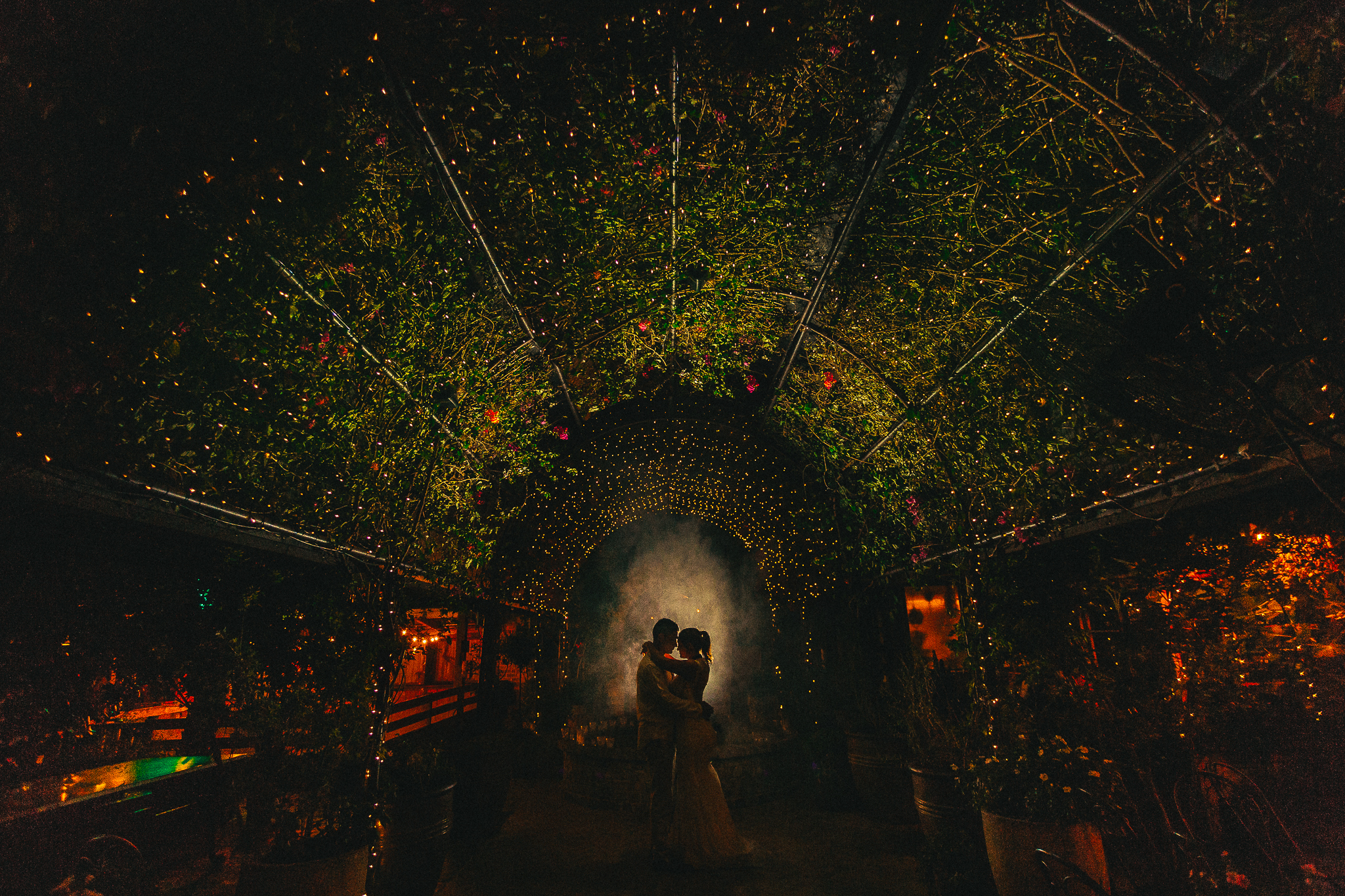 A bride and groom hugging uner a farn archway inside The Grounds, Alexandria.