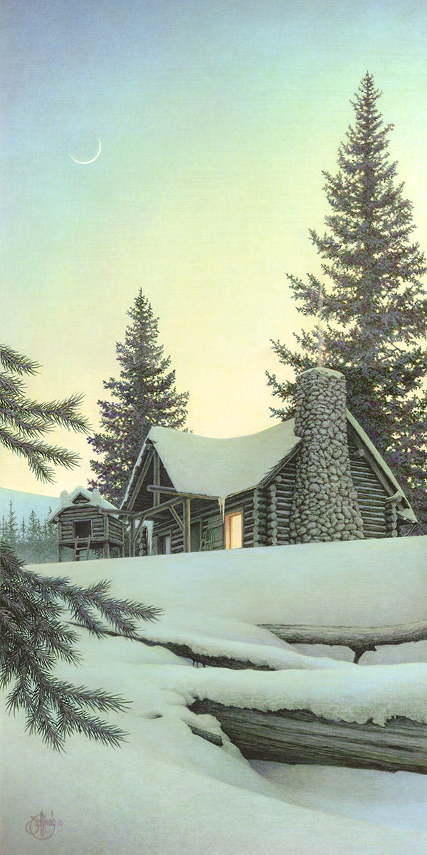 """Winter Den""  - Published as a canvas giclee, each print is signed and consecutively numbered by the artist. Edition Size: 250. Image Size: 9""x18"". From $95"