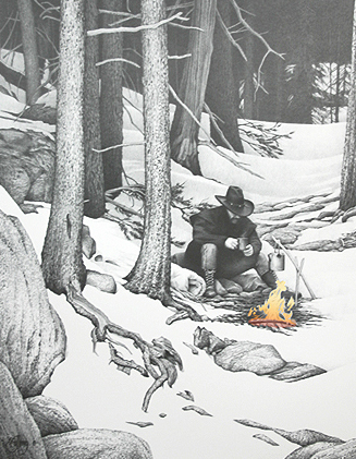 """The Handwarmer""  - Limited edition print with hand-colored campfire. Image size: 16""x20.5"". From $75"