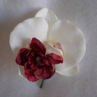 Cream Orchid and Burgundy Mum Corsage - Minneapolis Silk Florist