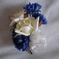 Cream Rose and Royal Blue Cornflower Corsage - Minneapolis Silk Florist