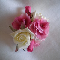 Cream Rose and Pink Hydrangea Corsage - Minneapolis Silk Florist
