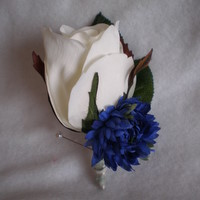 White Rose and Blue Cornflower Boutonniere - Minneapolis Silk Florist