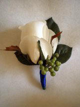 White Rose and Green Berry Boutonniere - Minneapolis Silk Florist
