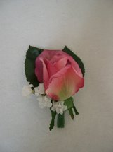 Pink Rose and White Accent Flower Boutonniere - Minneapolis Silk Florist