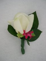 White Rose and Pink Accent Flower Boutonniere - Minneapolis Silk Florist
