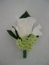 White Rose and Green Snowball Bush Boutonniere - Minneapolis Silk Florist