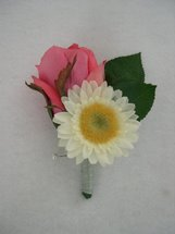 Pink Rose and White Gerbera Daisy Boutonniere - Minneapolis Silk Florist