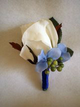 White Rose, Blue Hydrangea and Green Berry Boutonniere - Minneapolis Silk Florist