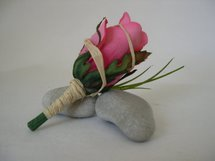 Pink Rose Bud, Grass and Raffia Boutonniere - Minneapolis Silk Florist