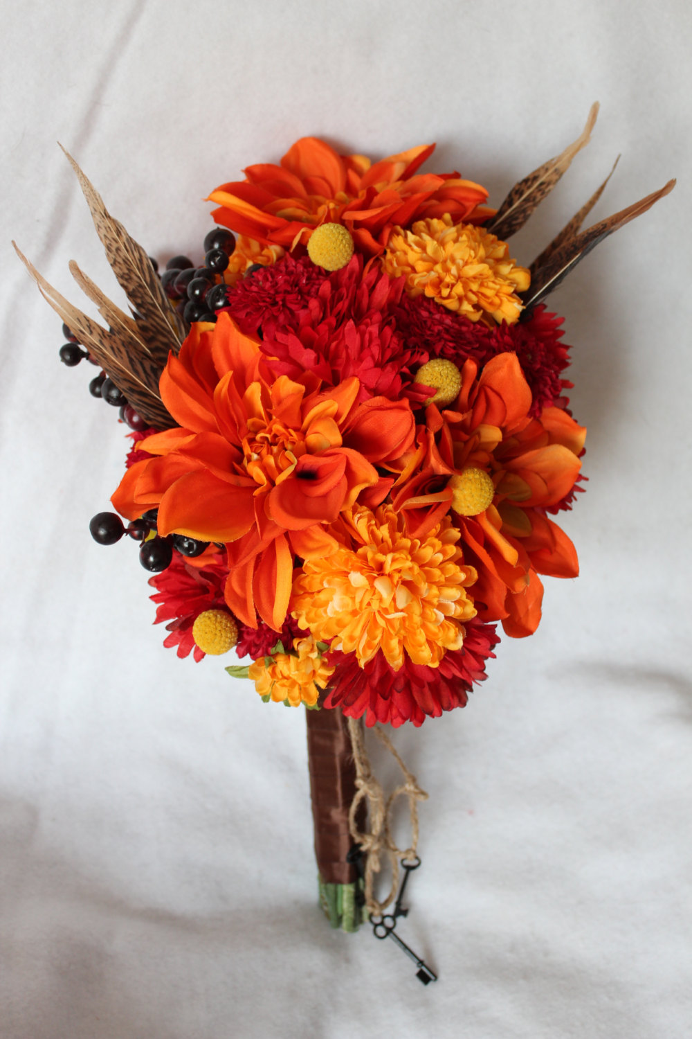 minneapolis-Fall-Silk-Flower-Bridal-Bouquet-with-Dahlia-Berries-Pom-Pom-and-Spider-Mums-Craspedia-Pheasant-Feathers-&-Matching-Boutonniere.jpg