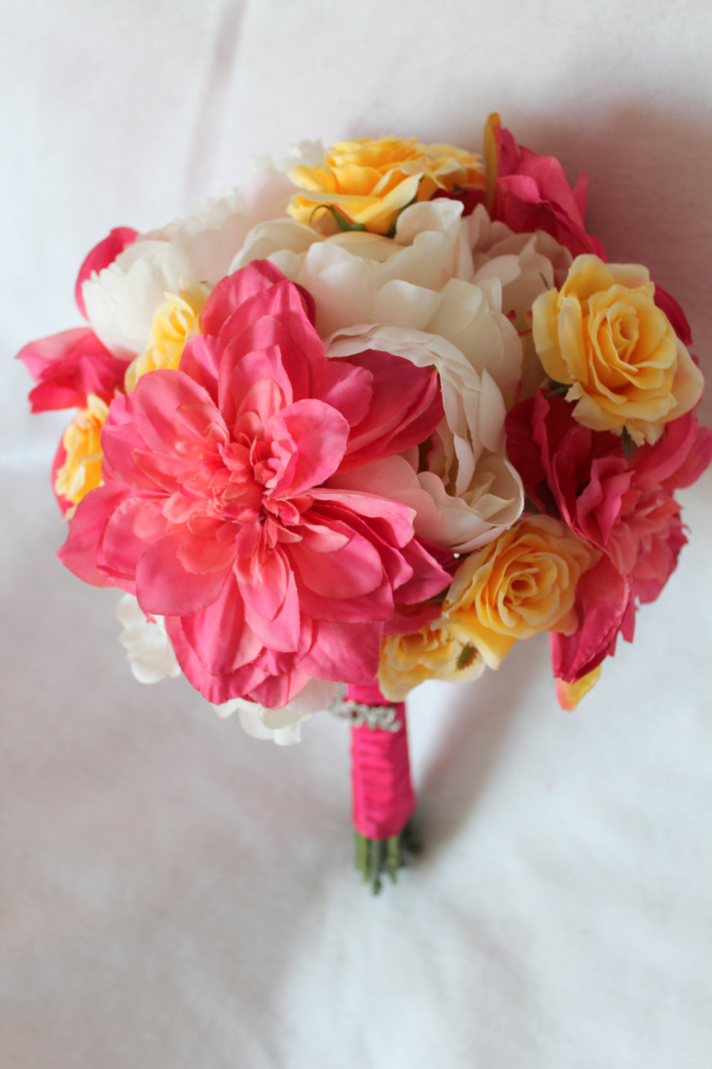 minneapolis-silk-florist-Dahlia-Peony-Rose-Silk-Bouquet-in-Pink-Yellow-White-with-Rhinestone-Love-Buckle-and-Matching-Boutonniere.jpg