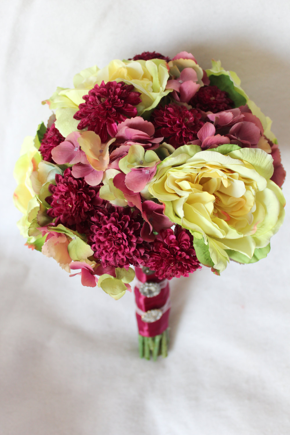 minneapolis-silk-florist-Pale-Green-and-Sangria-Silk-Bouquet-of-Garden-Roses-Pom-Pom-Mums-and-Hydrangea-with-Ribbon-and-Button-Accent-andMatching-Boutonniere.jpg