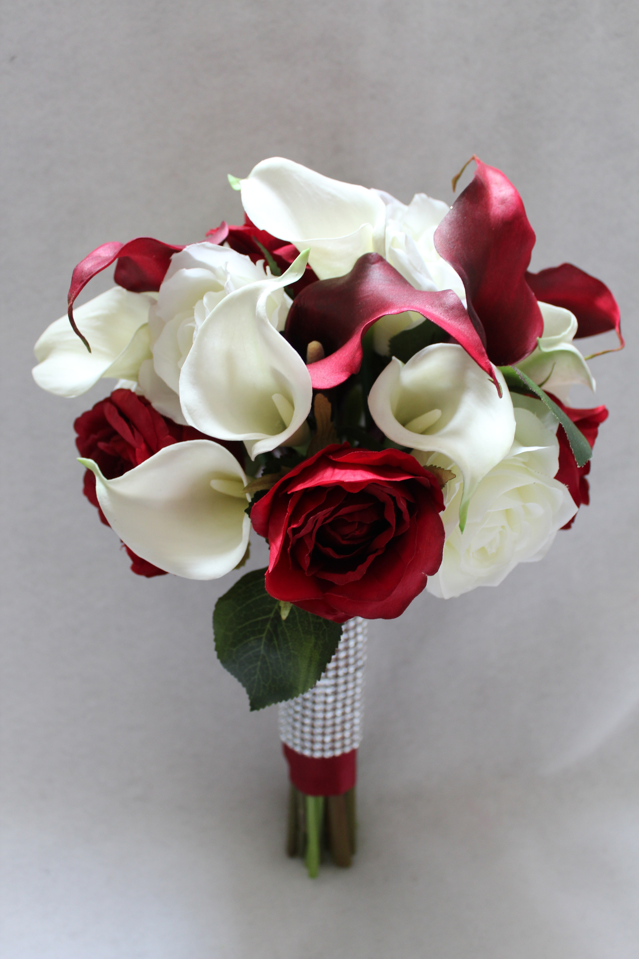 Red And White Flowers Silk Wedding Flowers And Bouquets
