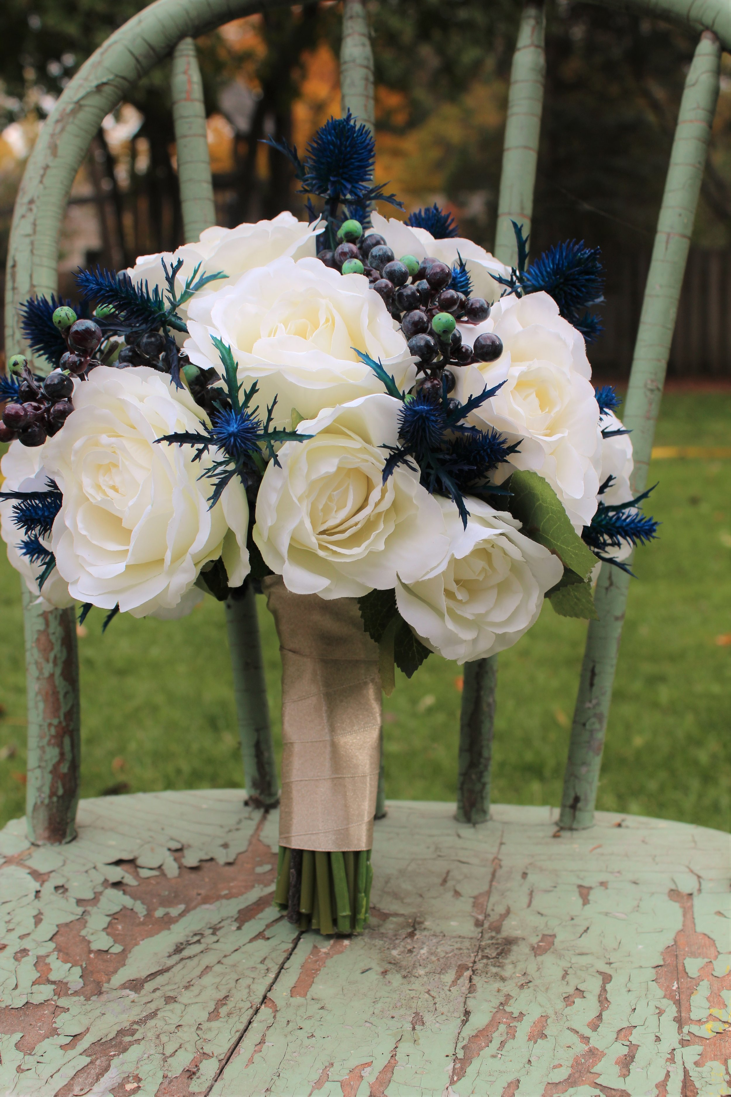 Ivory Roses, Blueberries and Blue Thistle