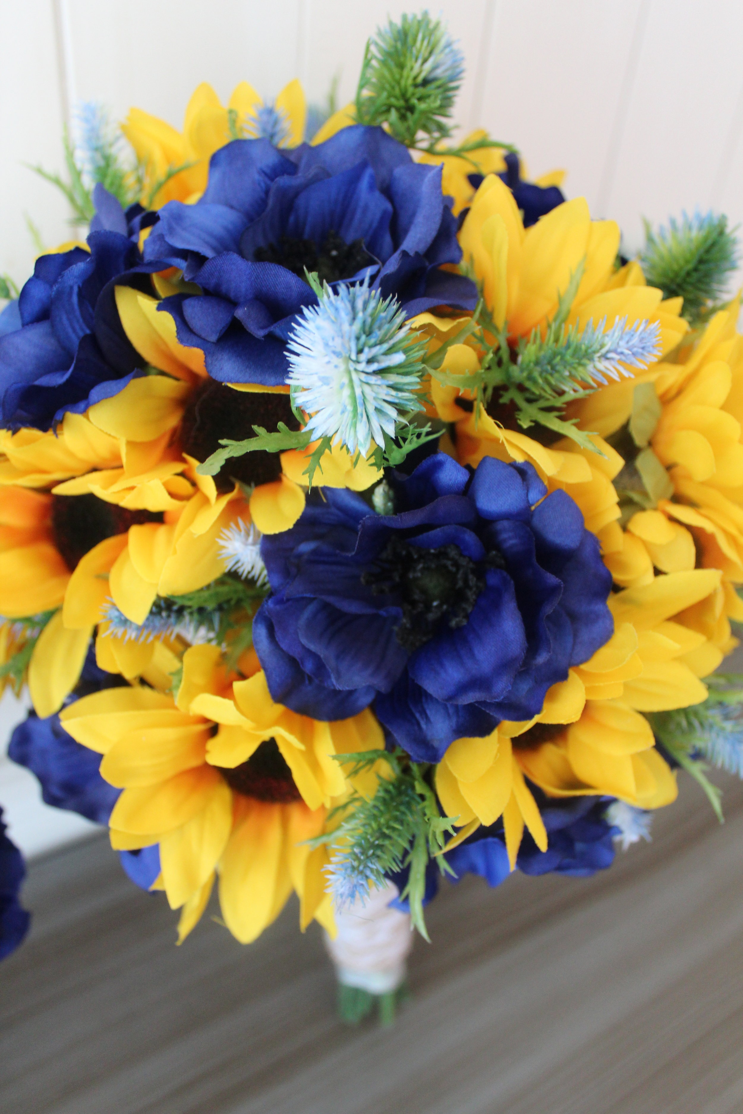 Bridal Bouquet with Sunflowers, Anemone and Thistle