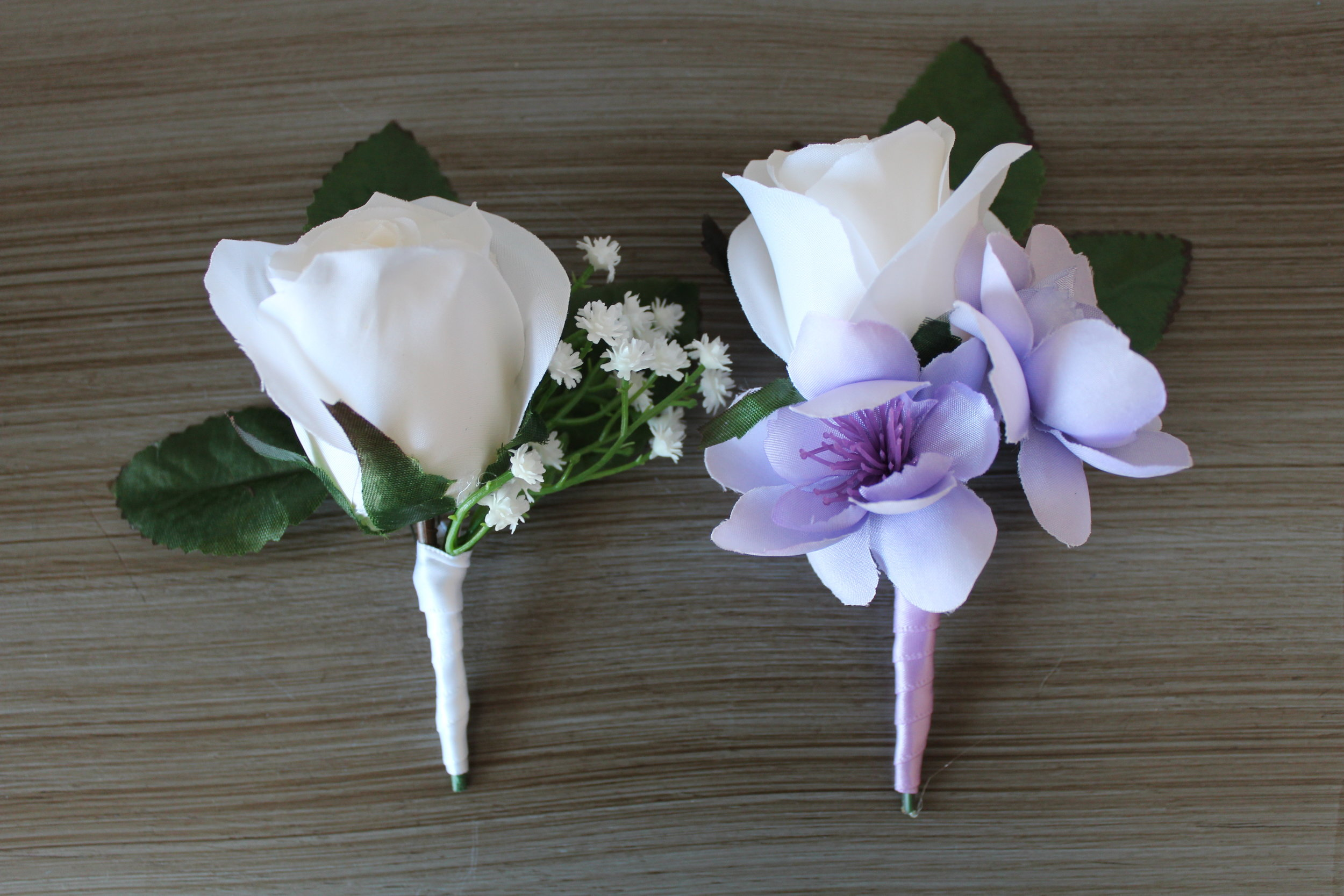 Groom's boutonniere and Best Man's boutonniere.